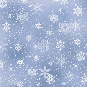 Landscape Medley Snowflakes Winter Snow on Silver Cotton Fabric