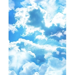 Beach Day Puffy Clouds and Sunburst Blue Sky White Cloud Cotton Fabric
