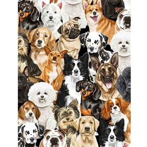 I Love My Dog Packed Realistic Dogs Pug Dalmatian Yorkie Cotton Fabric