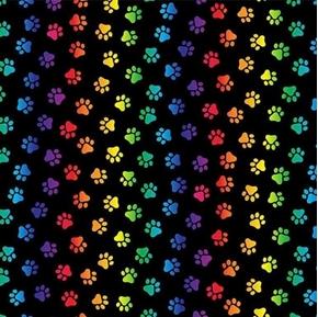 Pounce Neon Cat Paws Rainbow Kitten Paw Prints on Black Cotton Fabric
