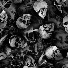 Wicked Eve Halloween Skulls and Smoke Black and White Cotton Fabric
