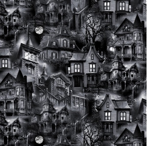 Wicked Eve Haunted Houses Black and White Halloween Cotton Fabric
