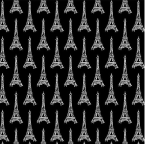 Bonjour Eiffel Tower Paris Travel White Towers on Black Cotton Fabric