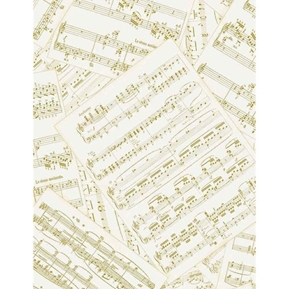 Autumn Symphony Musical Score with Gold Metallic Notes Cotton Fabric