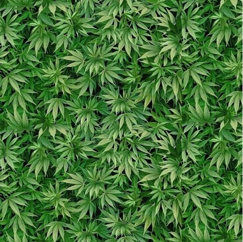 Small World Cannabis Mini Marijuana Leaves Green Pot Cotton Fabric