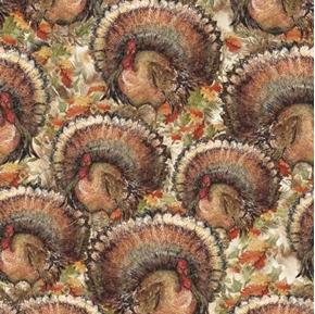 Fanned Turkey Thanksgiving Turkeys Susan Winget Holiday Cotton Fabric