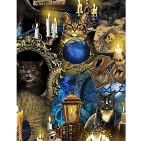 Mystical Meow Halloween Spooky Cats Tarot Cards Cat Cotton Fabric