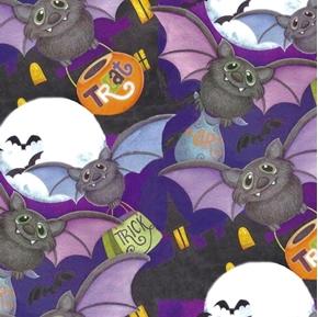 Happy Haunting Bat Toss Halloween Bats Nicole Tamarin Cotton Fabric