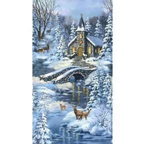 Winters Peace Blue Church in Forest Holiday 24x44 Cotton Fabric Panel