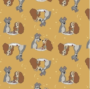 Disney Lady and the Tramp Sharing Spaghetti Mustard Cotton Fabric
