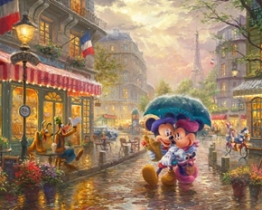 Disney Magic Mickey and Minnie Mouse In Paris Digital Fabric Panel