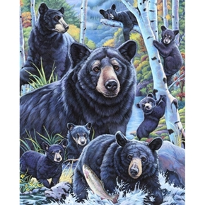 Bears in the Birches Bear Family Digital Cotton Fabric Panel