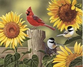 Sunflowers and Birds Cardinal Chickadees Digital Cotton Fabric Panel