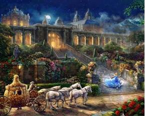 Disney Magic Cinderella Clock Strikes Midnight Digital Fabric Panel