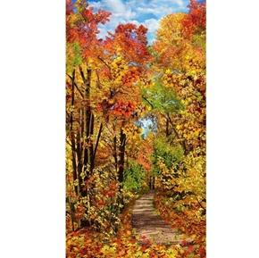 Fall Foliage Forest Path Autumn Leaves 24x44 Cotton Fabric Panel