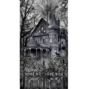 Wicked Eve Haunted House Halloween 24x44 Cotton Fabric Panel