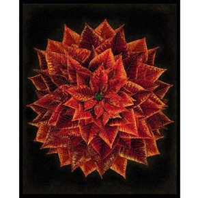 Holiday Spice Red Metallic Poinsettia Holiday Cotton Fabric Panel