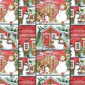 Santas Lodge Snowman Holiday Blocks Susan Winget Cotton Fabric