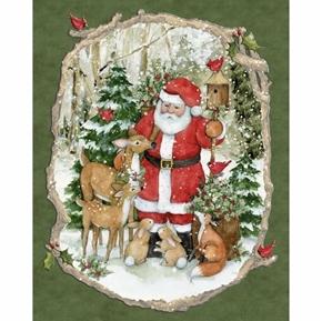 Santa Woodland Animals Christmas Greens Susan Winget Fabric Panel