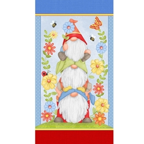 Gnome is Where the Garden Grows Stacked Gnomes 24x44 Fabric Panel