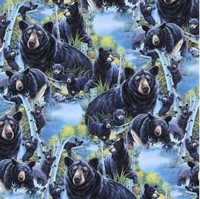 Fun in Nature Bears in Birch Trees Bear Family Digital Cotton Fabric