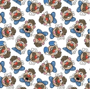 Disney Toy Story Mr Potato Head Expression Toss White Cotton Fabric