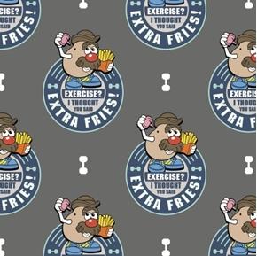 Disney Toy Story Mr Potato Head French Fries Grey Cotton Fabric