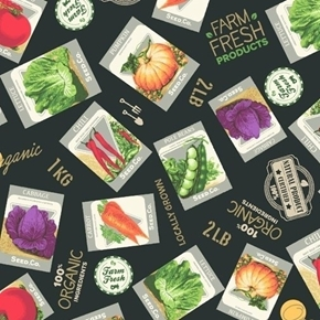 Certified Delicious Seed Packs Vegetable Garden Seeds Cotton Fabric
