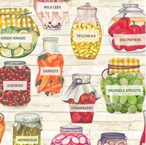 Certified Delicious Pickled Produce Vegetables Preserved Cotton Fabric