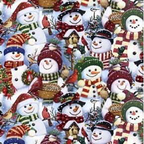 Snowman Fest Christmas Holiday Packed Snowmen Digital Cotton Fabric