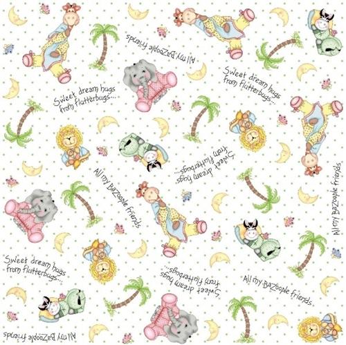 Bazooples Sweet Dreams Animal Toss White Nursery Cotton Fabric
