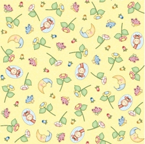 Bazooples Sweet Dreams Petals and Motifs Yellow Nursery Cotton Fabric