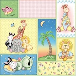Bazooples Sweet Dreams Patch Cute Animal Nursery Cotton Fabric
