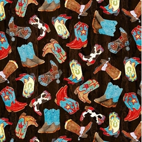 Sunset Rodeo Tossed Cowboy Boots Black Western Cotton Fabric