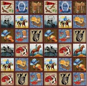 Sunset Rodeo Small Cowboy Western Blocks 24x44 Cotton Fabric Panel