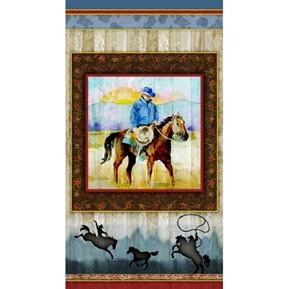 Sunset Rodeo Cowboy at Sunset Western 24x44 Cotton Fabric Panel