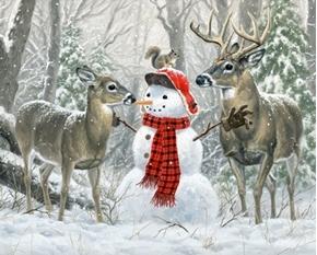 Christmas Friends Snowman Deer Squirrel Digital Cotton Fabric Panel