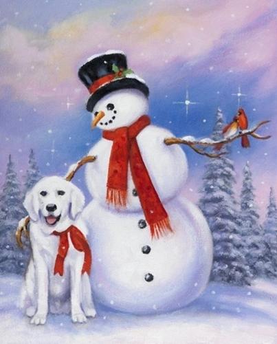 Snowman Dog and Cardinals Christmas Holiday Digital Cotton Fabric Panel