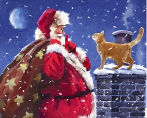 Santa and Cat Christmas Holiday Digital Cotton Fabric Panel