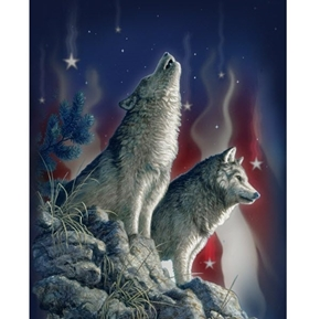 Song of the Night Wolves Patriotic Wolf Digital Cotton Fabric Panel