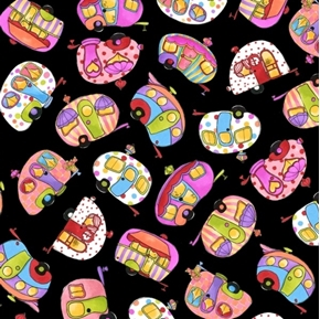 Tipsy Trailer Toss Fun Colorful Campers Loralie Black Cotton Fabric