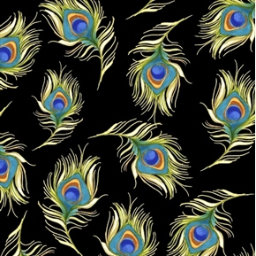 Pretty Peacock Feathers Loralie Designs Black Feather Cotton Fabric