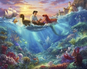 Disney Dreams Little Mermaid Ariel Thomas Kinkade Digital Fabric Panel