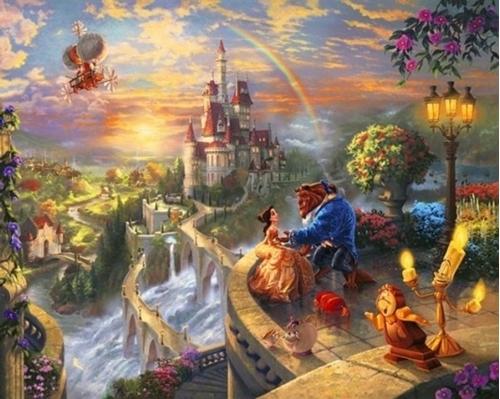 Disney Dreams Falling in Love Beauty and the Beast Kinkade Fabric Panel