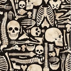 Halloween Boney Yard Skeleton Bones Kate Ward Thacker Cotton Fabric
