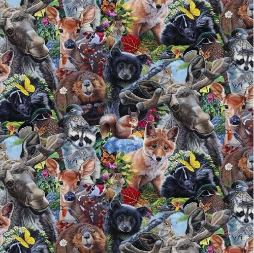 New England Wildlife Animal Selfies Beaver Fox Bear Cotton Fabric