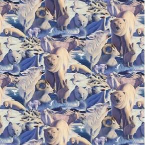 Arctic Mysteries Polar Wildlife Wolf Seal Ram Moose Cotton Fabric
