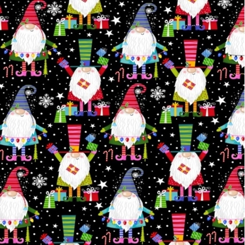 Christmas Party Gnomes Glitter Holiday Gnome Cotton Fabric