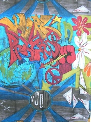 Urban Art Work in Progress Graffiti Rare Cotton Fabric by the Yard