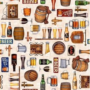 On Tap Beer Motifs Bottles Glasses Kegs Taps Cream Cotton Fabric